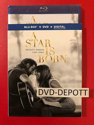A Star Is Born Blu Ray + DVD + Digital HD & Slipcover Brand New FAST Free Ship