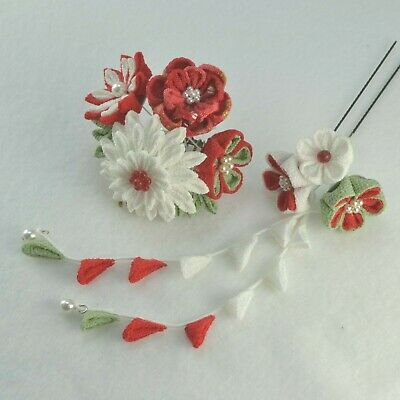 Japanese tsumami kanzashi pink hair ornament 2pcs set