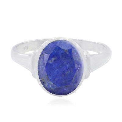 Real Gemstone Oval Faceted Lapis Lazuli ring 925 Silver gift for anniversary AU
