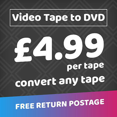 Transfer Your Old Video's to DVD VHS, CVHS, Betamax, Video 8mm/Hi8 (ONLY £4.99)