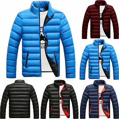 Mens Winter Warm Lightweight Down Jacket Quilted Padded Puffer Overcoat Outwear