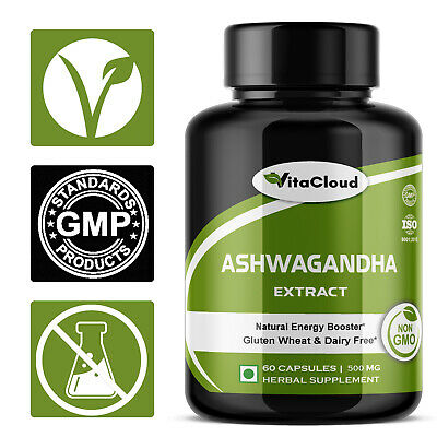 Ashwagandha Root Extract Capsules 5% Withanolides 500mg  Capsules Anti-Stress