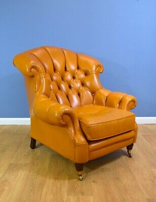 Chesterfield Style Caramel Leather Lounge Club Wingback Armchair