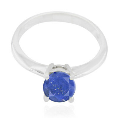 Nice Gemstone Round Faceted Lapis Lazuli ring 925 Silver gift for husband AU