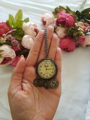GORGEOUS Weidi Faux Clock Face Necklace Used Vintage Look