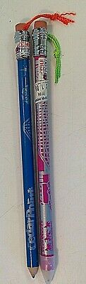 Vintage Set of 2 Cedar Point Souvenir Giant Pencils Theme Park Pink Blue Scenes
