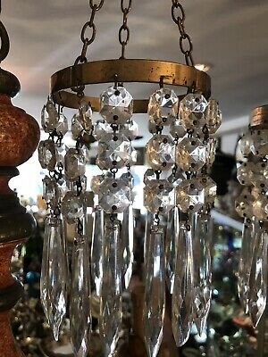 Small One Ring Vintage Crystal Drop Waterfall Ceiling Chandelier 24cm