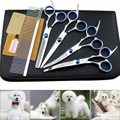 "6"" Hair Cutting Pet Dog Cat Grooming Scissors Cutting Curved Thinning Set Kit"