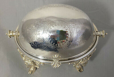 Antique Victorian Roll-top Butter Dish/ Caviar Dish with Rams Head & Hoof Feet