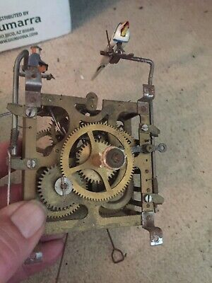 Antique Musical Cuckoo Clock Movement And Figurines Working