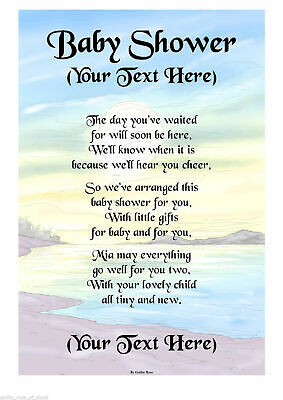Personalised A4 / A5 Baby Shower Poem Scroll Gift Various Designs