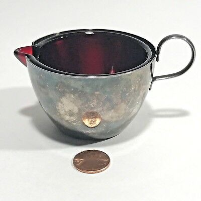 Milk Creamer Silver With Red Glass Insert Finger Loop Vintage Made in England