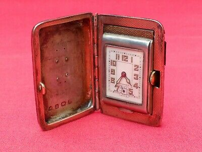 Art Deco Period Travel Clock / Watch Sterling Silver Case 15 Ruby Swiss Movement