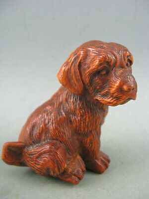 Antique Chinese Old Boxwood Hand carved Dog Netsuke Statue