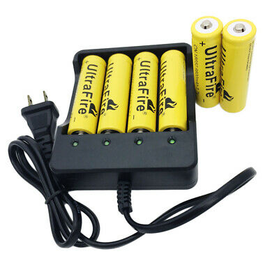 6X 18650 3.7V 9800mAh Li-ion Rechargeable Battery&4Slots  Charger For Flashlight