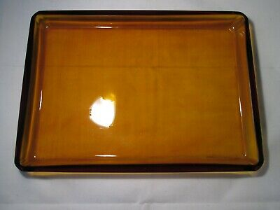 Vintage Retro Heavy Amber Glass Rectangular Tray. 28cm x 20cm. Over 1.3kgs.