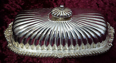 Vintage Viners Silver Plated Rectangular Reed Pattern Butter Dish & Glass Liner