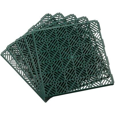 Interlocking Garden Tiles 30x30cm Green - Pack Of 5 - Non Slip Durable Plastic