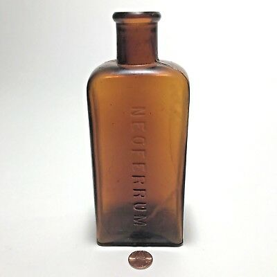 Antique Medicine Bottle Amber Brown Neoferrum BIM Visible Air Bubbles in Glass