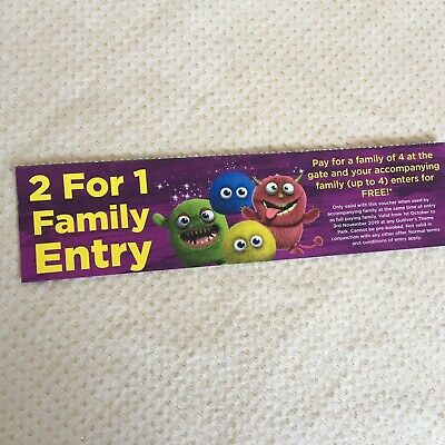 Gullivers World Theme Park Coupon Tickets Family BOGOF Valid Oct Nov