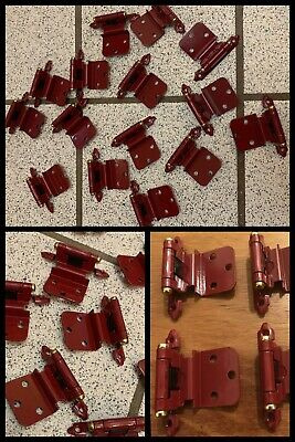 15 Cabinet Door Hinges Self Closing Red Chest Trunk Arts Crafts Hobby Vintage