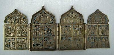 Antique Russian 18th-19th century Brass & Enamel Quadriptych Traveling  Icon