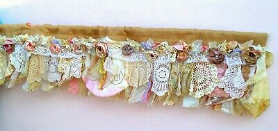 Shabby Chic Burlap Valance with Vintage Lace - Custom Order for your window