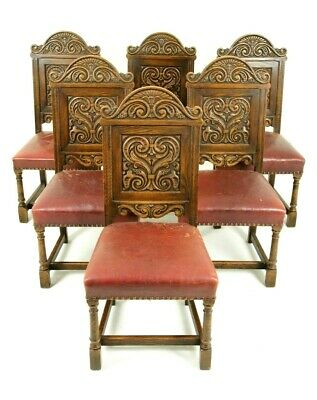 Antique Oak Dining Chairs, Renaissance Revival, Krug Furniture, 1930s, B1523