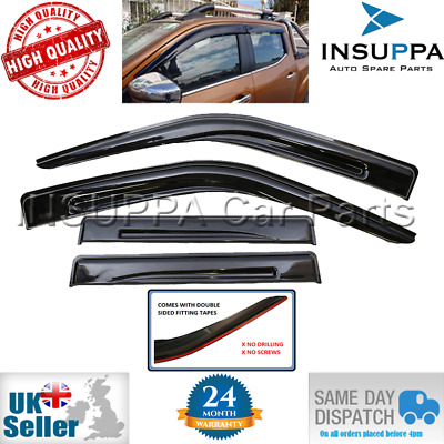 WIND RAIN SUN SMOKE GUARD DEFLECTORS 4pc FOR NISSAN NAVARA NP300 D40 4DOOR 06-16