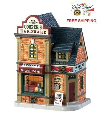 NEW 2018 Lemax Village Lighted Building Cooper's Hardware XMAS Table Decor Gift