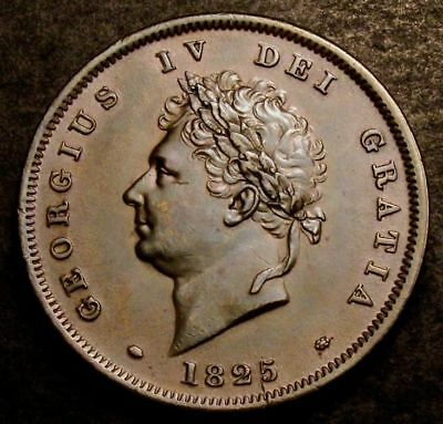 1825 Great Britain George IV Copper Penny Coin. Spink £800 in UNC Condition.
