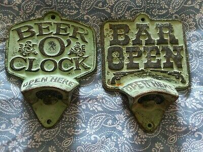 2 Cast Iron Vintage Looking Bottle Openers / Beer O'clock / Bar Open