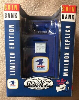 USPS Metal Mailbox Coin Bank Vintage 1997 US Postal Service Gearbox Collectables