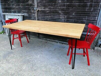 Butcher Block Oak 7ft Dining Table Hairpin Legs *CAN DELIVER* Mid-Century Modern