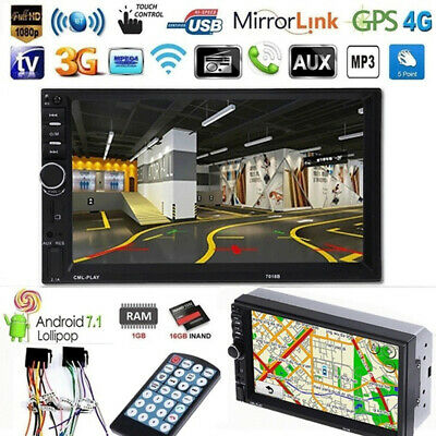 """7"""" 2-Din Touch Screen Car Radio Stereo MP5 Player With GPS Bluetooth U Disk AUX"""
