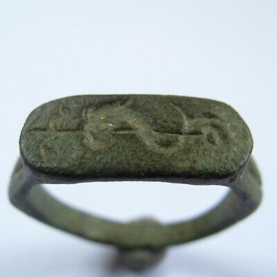Viking Celtic Ancient Artifact Bronze Ring With Sea Fish And Spear
