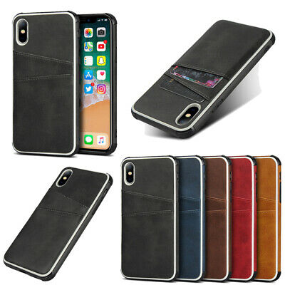 Card Slot Silicone Leather Hybrid Case Cover For iPhone XS Max XR X 8 6s 7 Plus