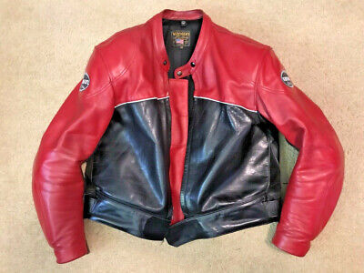 2244ed8997e5 Vanson Cobra Mark 2 - Motorcycle Jacket Black & Red Leather Jacket (Size ...