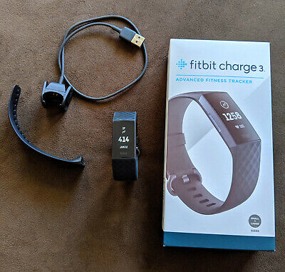 Fitbit Charge 3 Fitness Tracker in Black - Complete + Box