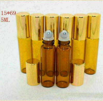 10 pieces 5ml 15x69mm empty glass bottles w/ perfume roll on metal roller ball