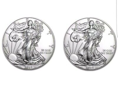 2019 1 oz American Silver Eagle $1 GEM BU (Lot of 2) Why buy from me?  100% !!