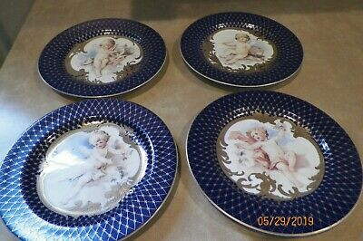 """FITZ & FLOYD """"Les Anges"""" 4 Plates  Navy Blue and Gold with Cherubs Angels"""