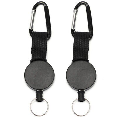 2 Pcs Retractable Key Chain Card Badge Holder Steel Recoil Ring Pull Belt Clip