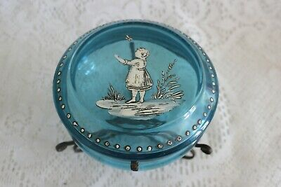 Antique Mary Gregory Blue Glass Hinged Casket Dresser Box Jar Girl W/ Butterfly