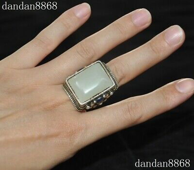 Old Chinese Dynasty Palace Silver inlay White Jade Gemstone Jewelry ring Rings