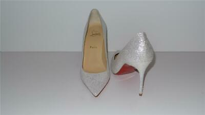 buy popular 9b0be e739a $745 CHRISTIAN LOUBOUTIN Decollete 554 85 Glitter White Pumps Size 39