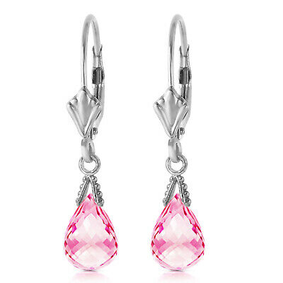 14K. Gold Leverback Earring With Briolette Pink Topaz