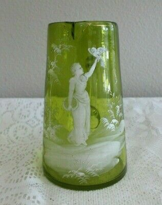 """Antique Mary Gregory 7.5"""" Green Glass Jug / Pitcher Lady W/ Dove"""