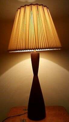 Vintage Mid Century Wooden Hourglass Table Lamp Still Works