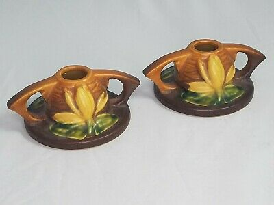 Vintage Roseville 1154-2 USA Pottery Candle Sticks Pair Water Lily Yellow Brown